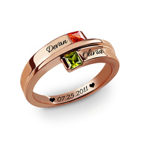 Elegant Wedding Ring for Women Bride With Stone Rose Gold Personalized Two Names Letter Engagement Rings Girlfriend Jewelry Gift