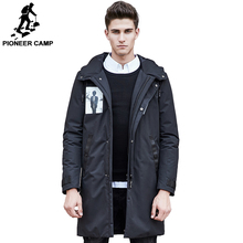428d7d672d85 Pioneer Camp long winter down coat men high quality white duck down jacket  Russian warm casual