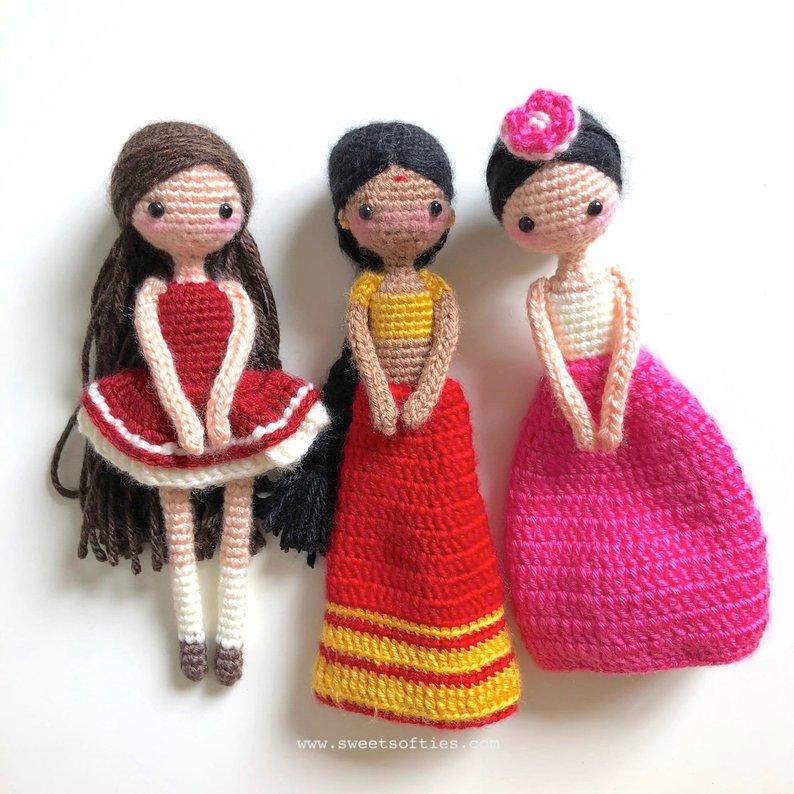 Jouets crochet amigurumi POUPÉE à la main filles hochets modèle nombre HH036