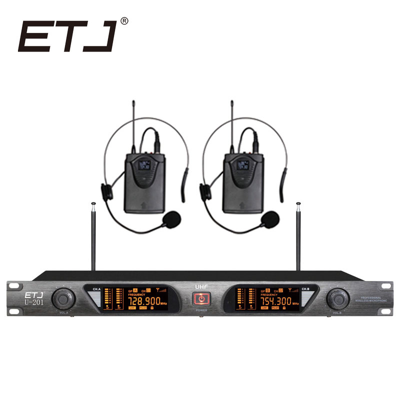 ETJ U-201 Wireless Microphone with Screen 50M Distance 2 Channel Handheld Mic System Karaoke Wireless Microphone
