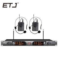 ETJ U-201 Wireless Microphone with Screen 50M Distance 2 Channel Handheld Mic System Karaoke Wireless Microphone