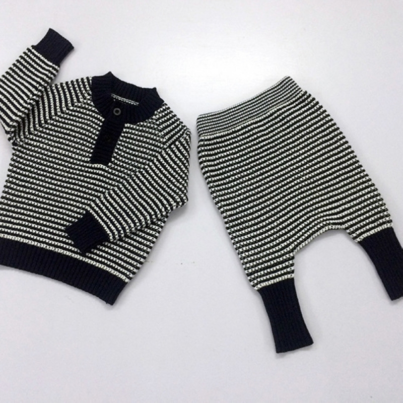 child <font><b>knitting</b></font> wool sweater two-piece <font><b>set</b></font> hedging 2016 spring kid black and white <font><b>striped</b></font> Clothing baby pullover hooded+pant