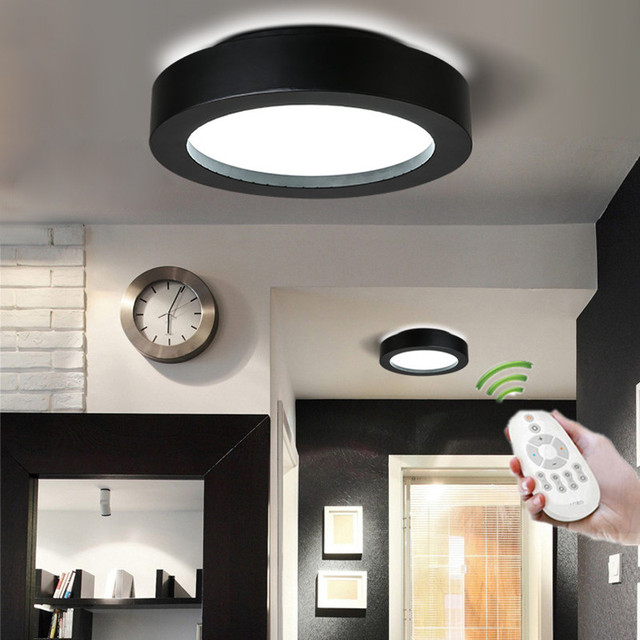 Remote Control Ceiling Light Fixtures Bedroom Kitchen Dining Room Bathroom Lights Black White Flush Mount