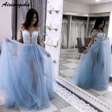 Beautiful A Line Illusion Neckline Light Blue Tulle Party Prom Dress with Lace Bodice Long Prom