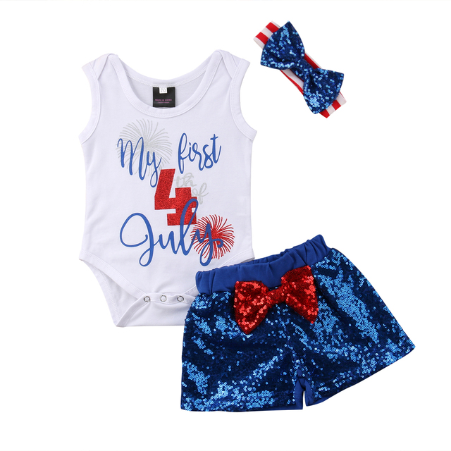 610f41dd8 Baby Girls Boy USA Flag Romper Pant 4th of July Independence Day Outfits  Clothes