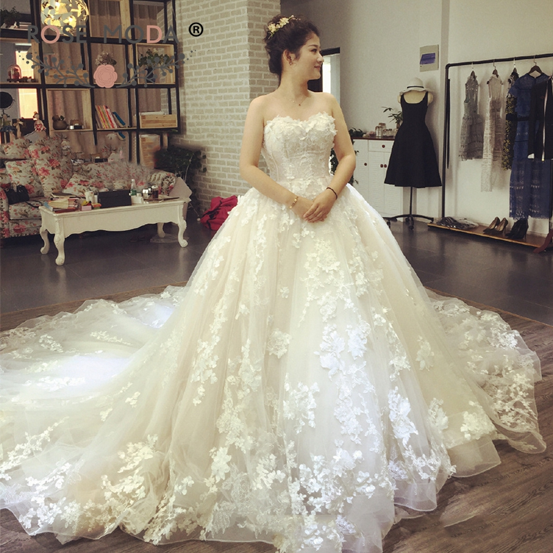 3b436ee9aab7 Rose Moda Luxury 3D Flower Lace Wedding Dress 2019 Princess Bridal Dresses  with Long Train ~ Top Deal July 2019
