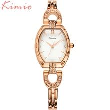КИМИО 2016 Женщины Часы Простой Марка Золото Случае Горный Хрусталь часы Дамы Кварцевые часы наручные часы для женщин Relógio Feminino
