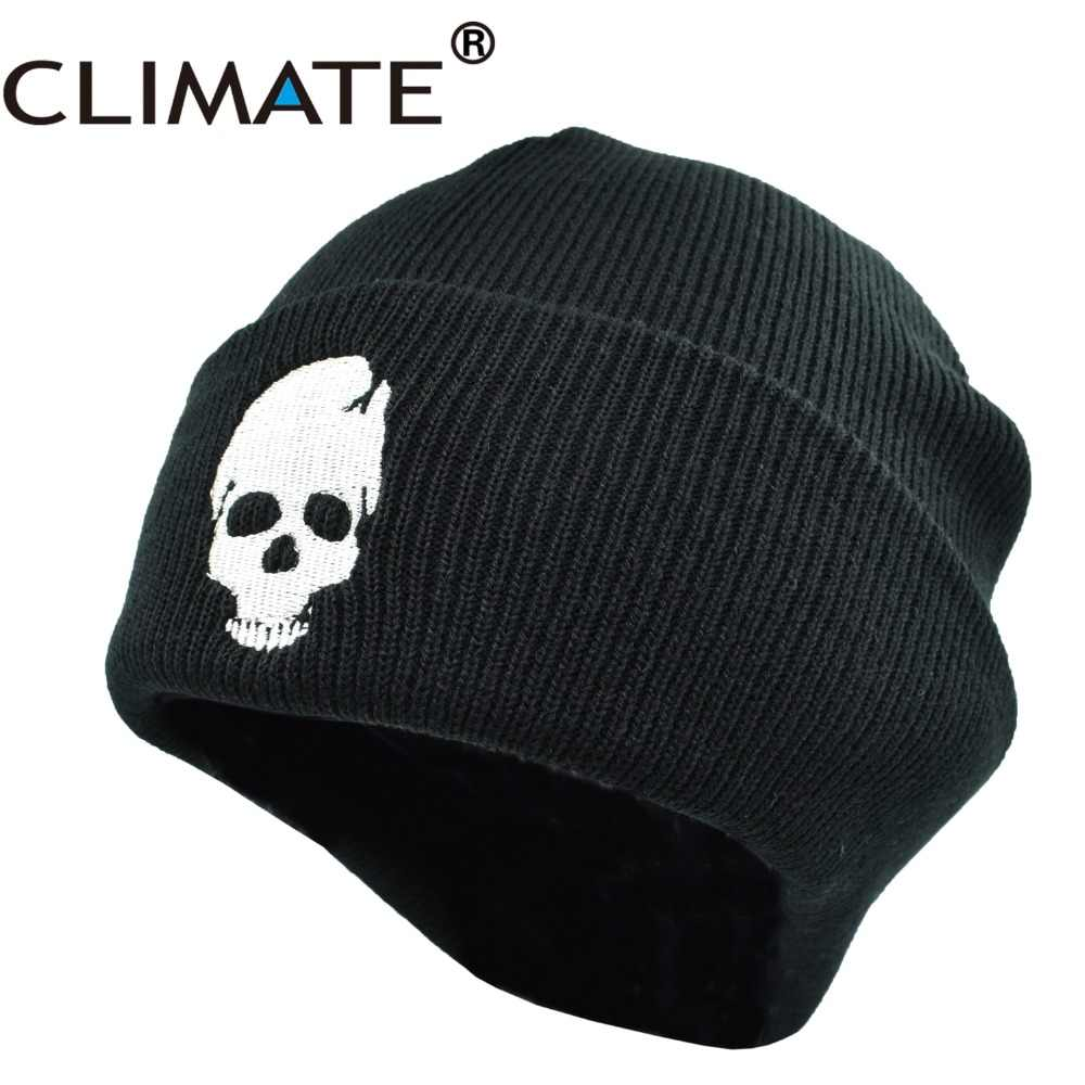 edf7d7d310f CLIMATE Skeleton Mens Beanies Winter Hats for Men Warm Knitted Hat Beanies  Skulls Cool Black Hip