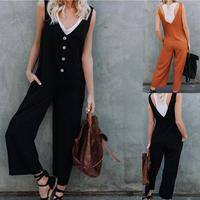 свободные с V-образным вырезом комбинезон для женщин летние повседневное кнопки оформлены брюки на подтяжках черный оранжевый комбинезон