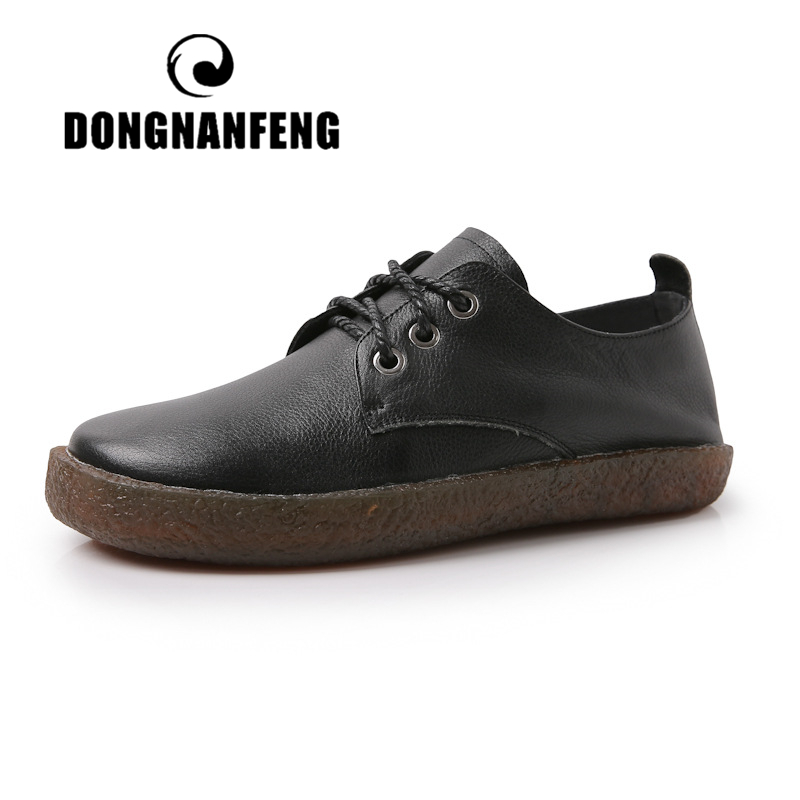 DONGNANFENG Women Old Mother Female Ladies Shoes Flats Loafers Soft Lace Up Round Pigskin Cow Genuine Leather Casual 35-40 LCZ-1
