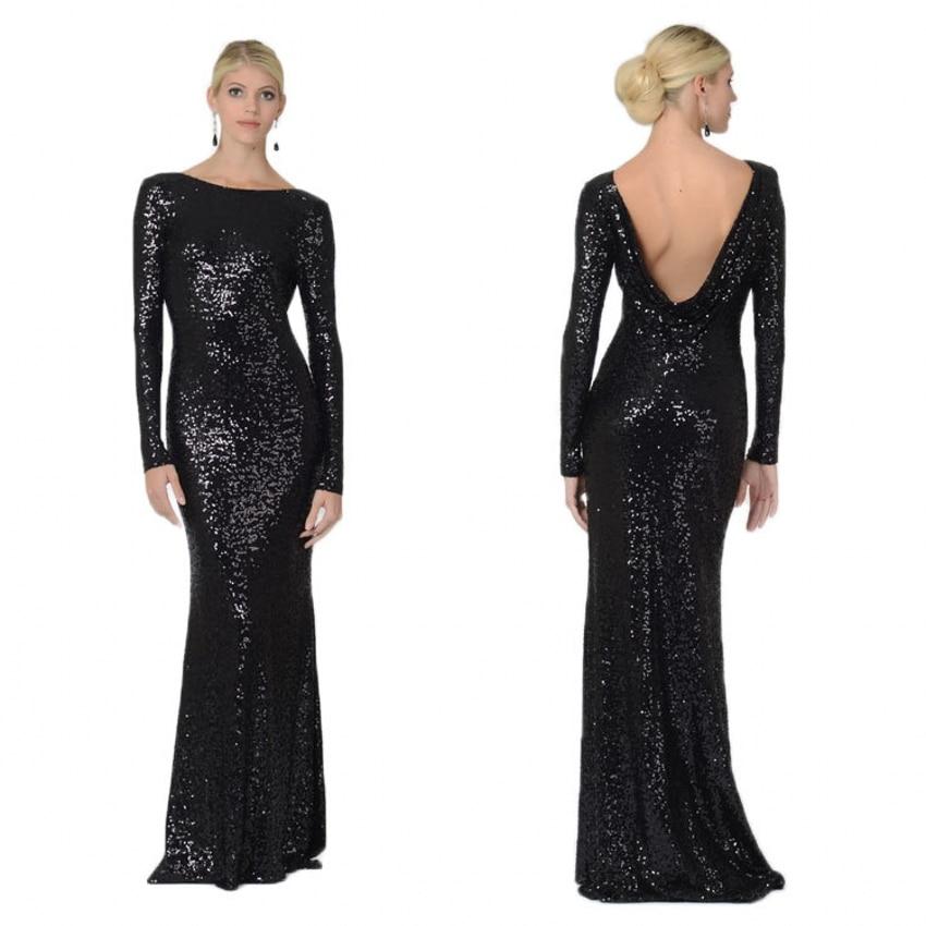 Black Long Sleeve Open Back Sequin Dress