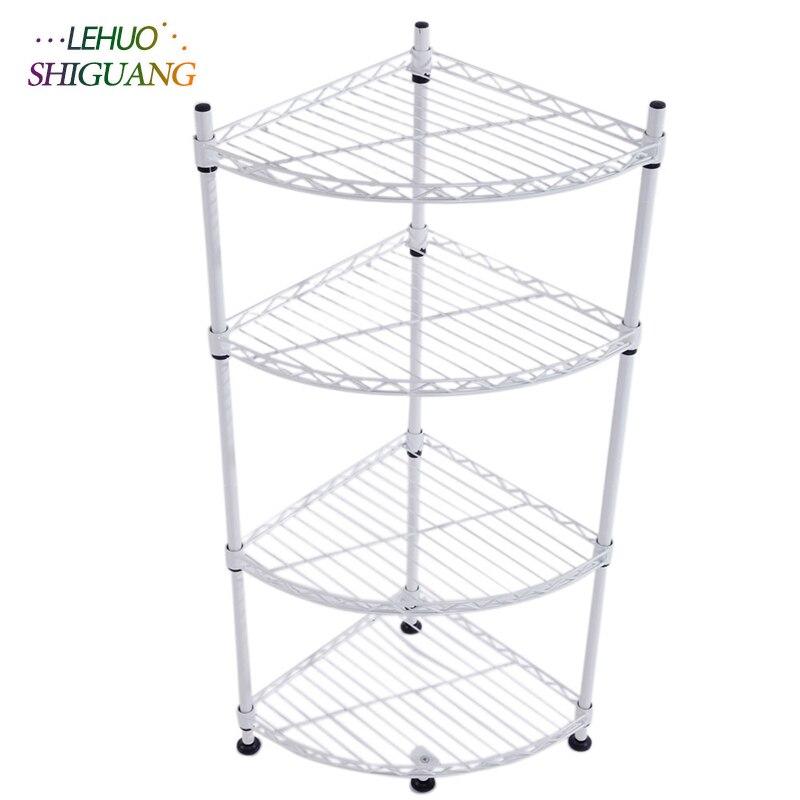 4 Layer Plastic Coated Triangle Corner Shelf Bookshelf organizer storage cabinet bookcase home living room Furniture
