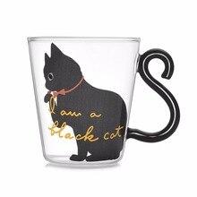 Милый котенок, стеклянная чашка для воды, кошачий хвост, ручка, кружка, молоко, чай, кофе, фруктовый сок, кружка, посуда для напитков, для дома, офиса, чашка, подарки для влюбленных