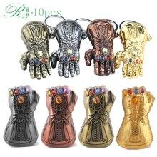 RJ 10pcs Avengers Thanos Infinite Power Glove Gauntlet Beer Bottle Opener Keychains Thor Iron Man Keyring Men Jewelry