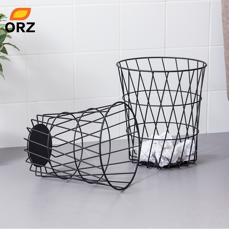 ORZ Set of 2 Metal Storage Basket Waste Bin Paper Basket Bedroom Office Trash Can Sundries