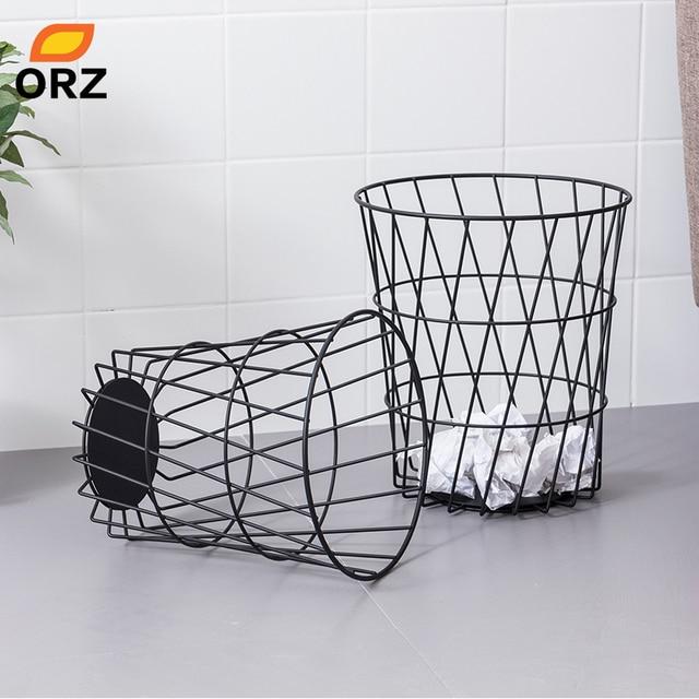 ORZ Set of 2 Metal Storage Basket Waste Bin Paper Basket Bedroom Office Trash Can Sundries  sc 1 st  AliExpress.com & ORZ Set of 2 Metal Storage Basket Waste Bin Paper Basket Bedroom ...