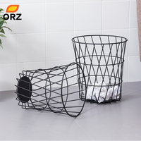 ORZ Set of 2 Metal Storage Basket Waste Bin Paper Basket Bedroom Office Trash Can Sundries Organizer Home Dedor Toy Storage Box