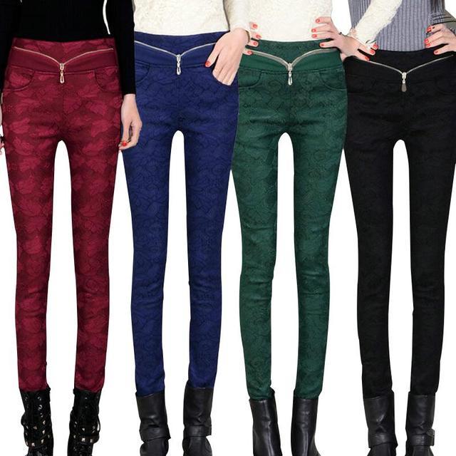 Nueva mujer otoño invierno Casual largo de encaje básico Leggings Pant Patchwork pantalones sueltos mantenga caliente Zipper botón más el tamaño