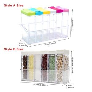 Image 2 - Juego de 2 unidades de tarros de plástico para botellas, organizador de condimentos, cajas de condimentos, cajas de almacenamiento para la cocina, accesorios para Organización del hogar