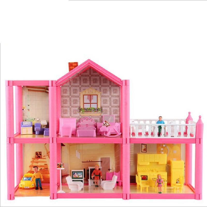 New DIY Family Doll House Dolls Accessories Toy With Miniature Furniture Garage DIY Doll House Toys For Girls Birthday Gifts image