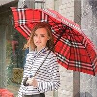 อัตโนมัติเปิดfashionalอังกฤษตรวจสอบการออกแบบร่ม, 190ครั้งpongeeผ้าร่มยาวจับ, Minigolfร่ม,ฝน