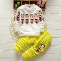 DT0259 Весна Осень комплектов одежды для мальчиков девочки дети дети спортивные костюмы марка костюмы хлопка с длинным рукавом рубашка + брюки 2 шт.