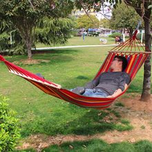 200x 80 cm Prevent Rollover Hammock Double Spreader Canvas Hammocks Bar Garden Camping Swing Hanging Bed Blue Red