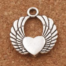 Angel Wing Heart Spacer Charm Beads 21.8x19.2mm 20pcs Antique Silver Pendants Alloy Handmade Jewelry DIY L217 LZsilver