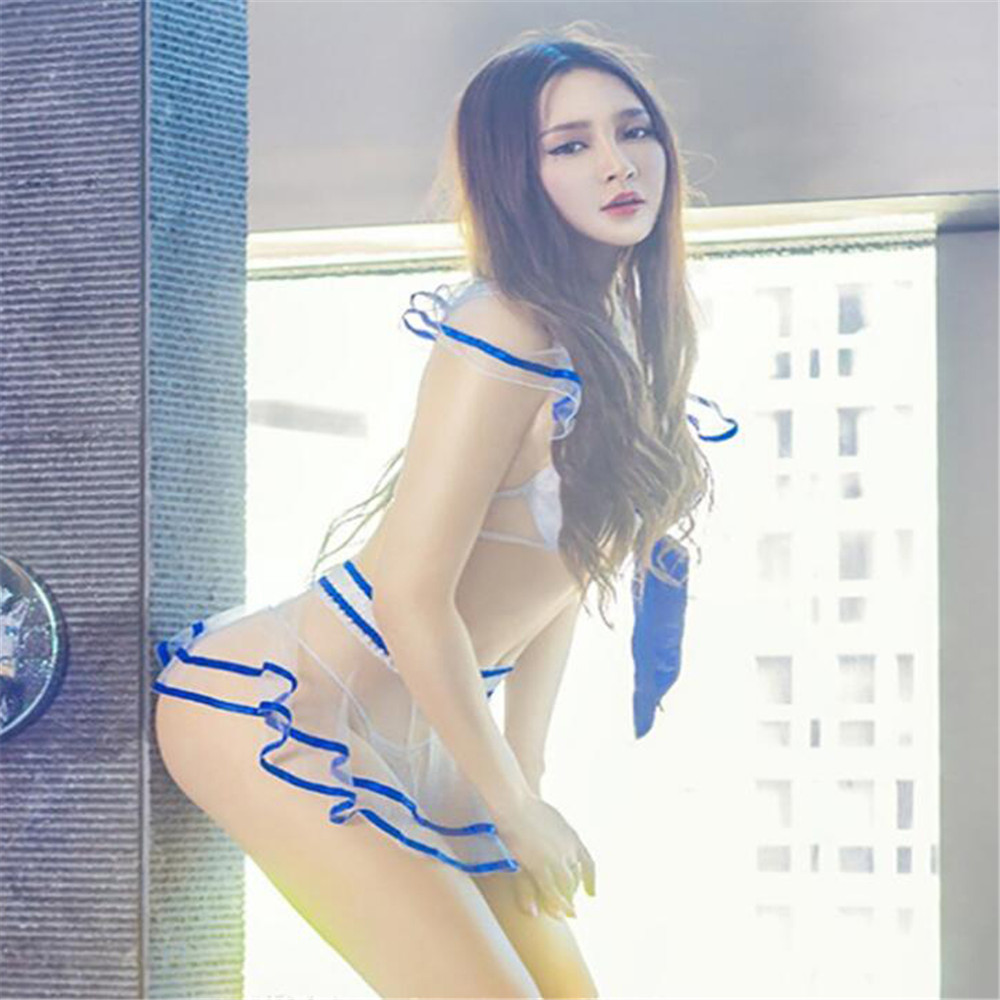 New Transparent Gauze Bow Bras Student Dress Pajamas Sexy Underwear Sexy Lingerie Lenceria Femenina Sexy Set Seks Vetement Femme