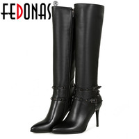 FEDONAS Brand Cow Leather +High Quality PU Women High Boots Sexy Rivets Pointed Toe Knight Long Shoes Fashion Zipper Boots