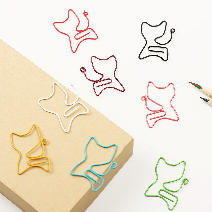 24PCS/lot Cat Shape Paper Clips Creative Interesting Bookmark Clip Memo Clip Shaped Paper Clips For Office School Home