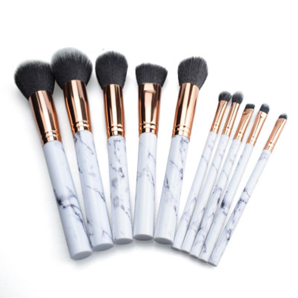 10Pcs Marbling Makeup Brushes Set Powder Foundation Eyeshadow Cosmetic Tools Makeup Brush 10pcs marble stripe makeup brushes set pro cosmetic brush kits eyeshadow powder foundation blending marbling blusher brush tools