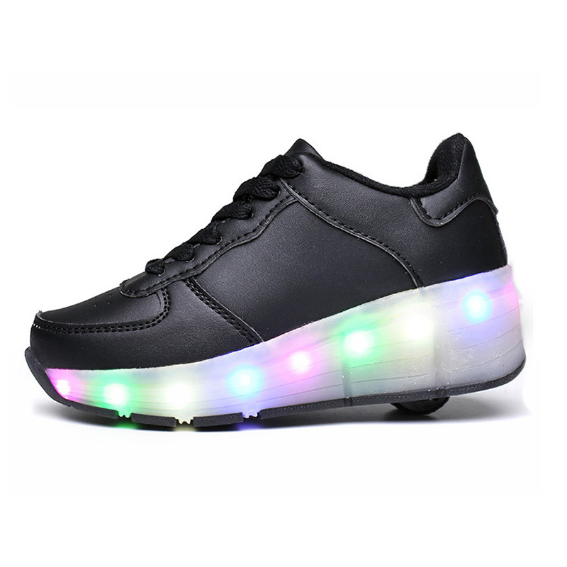 Eur 30 41// One Wheel Shoes Basket S Pulley Wheels Shoes Zapatos Automatic Wheel Lights Sports Shoes Kids Sneakers Black Shoes