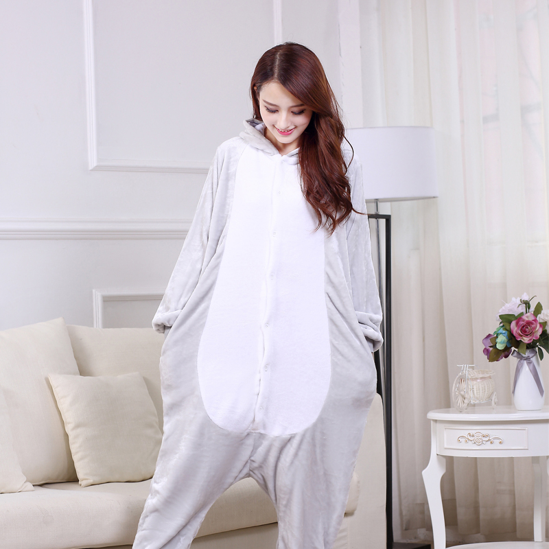 Soft Gray Mouse Onesie Flannel Warm Cute Pajamas Kigurumi Animal Sleepwear Adult For Women Cosplay home Special Costume Jumpsuit (2)
