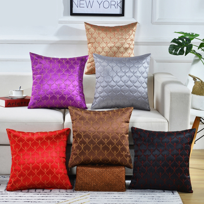 Home Textile Embroidered Striped Pillowcase Solid Red Purple Brown Grey Gold Ramadan Decoration Cushion Cover Sofa Throw Pillows