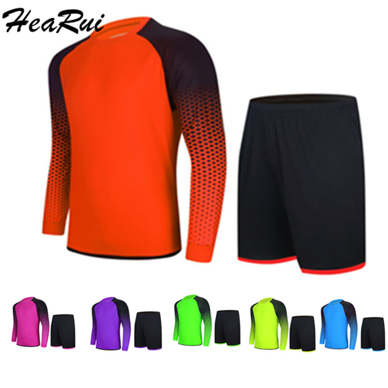 Hearui 2018 Men's Professional Goalkeeper Uniforms Soccer Jerseys Sets Youth Long Sleeve Doorkeepers Survetement Football suit 2015 camisetas de futbol survetement soccer jerseys