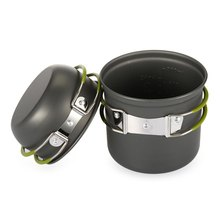 1L Outdoor Pot + Bowl Aluminum Tableware Cookware For Camping Hiking Picnic Climbing Survaval Cooker Set With Folding Handle
