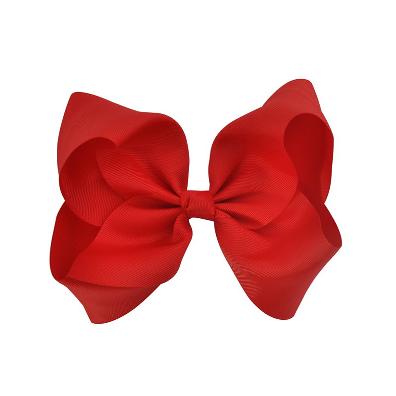 Boutique 8 tums Stor Solid Grosgrain Ribbon Hair Bow With Alligator - Kläder tillbehör