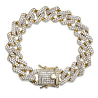 Lucky Sonny 7 8 Cuban Men Bracelet Silver Gold Color Male Pulsera Hip Hop Bling Chain Bracelets 2 Rows CZ ICED OUT Cool Jewel