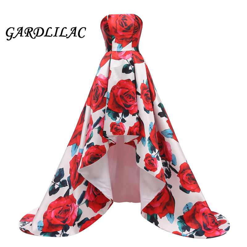 Colorful Red Floral   Evening     Dress   2019 Pattern Long Hi Lo Prom   Dress   Formal Party Gown Abendkleider 2019 Vestido robe de soiree