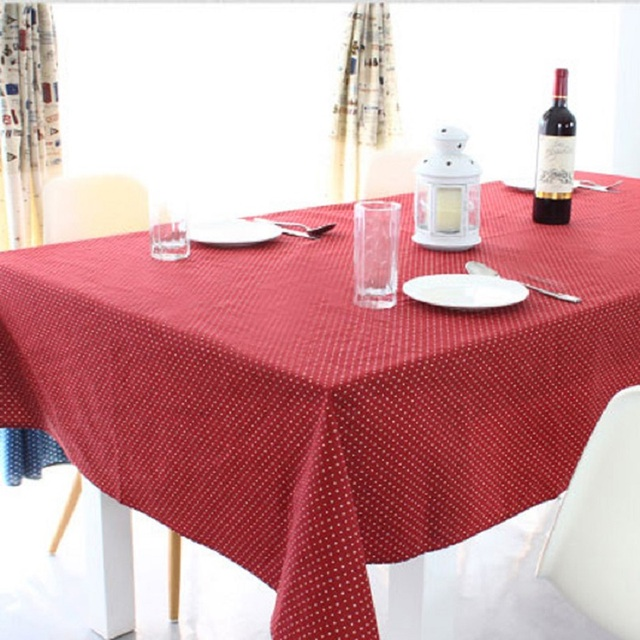 Nice Cotton Tablecloth Korean Classic Red Wave Rectangular Tablecloths  Decoration Merry Christmas Mantel Table Cloth Table Cover