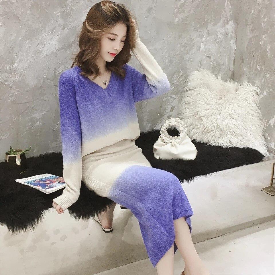 Nouveau En Pull Chandail Pièce pourpre Jupe Tricot Automne Vêtements jaune Coréen Set 2018 Femmes Coffee Style 2 Hiver RYqwvOdOz