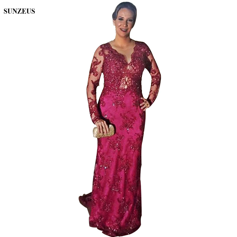 Appliques Long Sleeves Mother Of The Bride Dresses Full Lace Wedding Party Dress With Sequins Beads Wine Red Long Mother Gowns