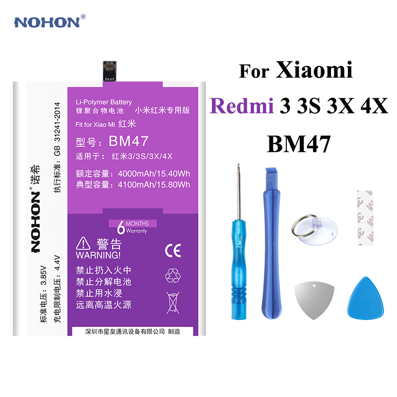 Nohon 4100mAh Battery For Xiaomi Redmi 3 3S 3X 4X BM47 redmi3 redmi3S Redmi3X RedMi4X built-in Bateria Phone Li-polymer Battery