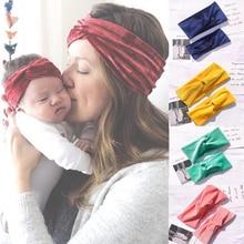 2Pcs Mom & Kids Velvet cross headband Turban twist Parenting Headband Mom Daughter Velvet Elastic Hair Band Hair Accessories