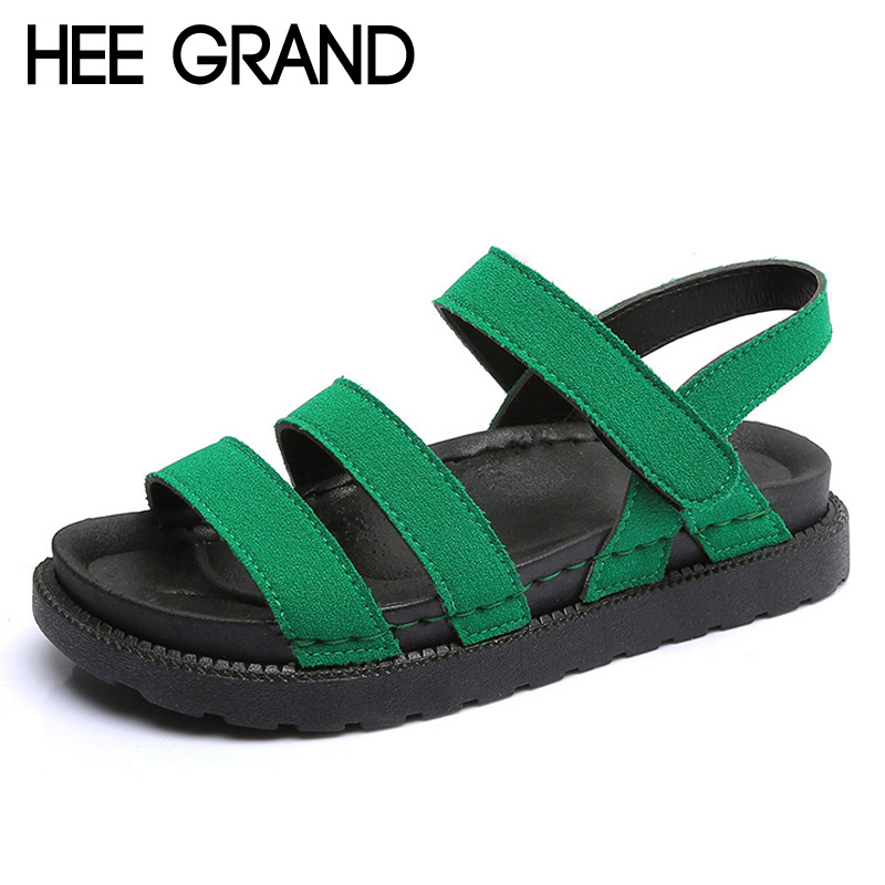 HEE GRAND Platform Women Sandals 2017 New Summer Gladiator Sandals Beach Buckle Casual Flats Shoes Woman Size 35-40 XWZ4067 hee grand casual wedges sandals 2017 summer beach women shoes platform buckle comfort creepers fashion shoes woman xwz3812