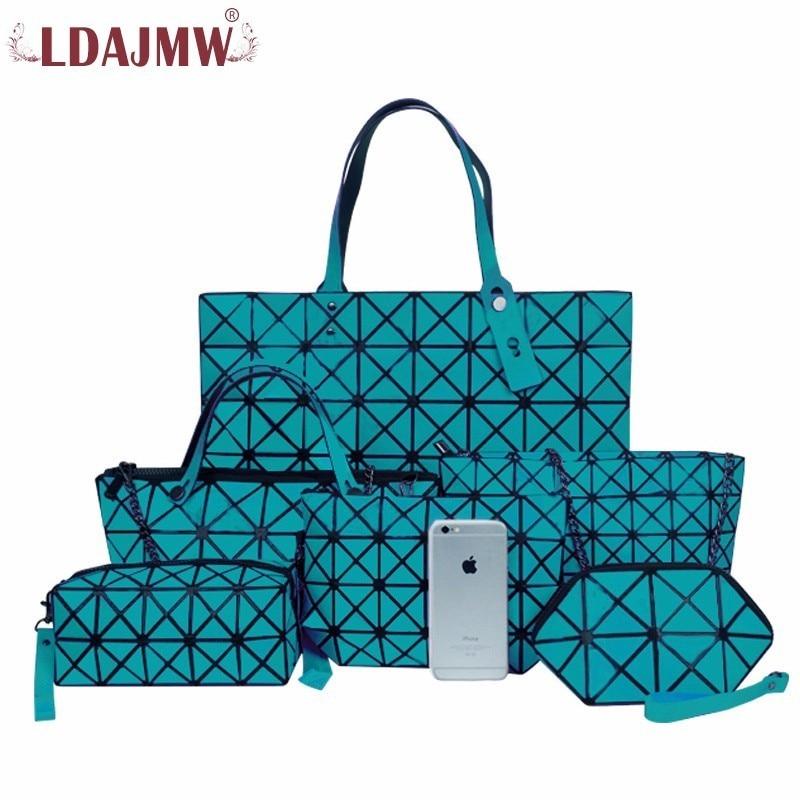 LDAJMW 6PCS/Set Women Retro PU Leather Handbags Female Bag Mother Package Bag Hand Mother Bill Of Lading Shoulder Bag Women Bag