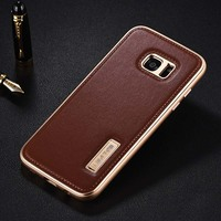Original IMATCH Case Luxury Aluminum Metal Frame Genuine Leather Back Cover Phone Cases For Samsung Galaxy