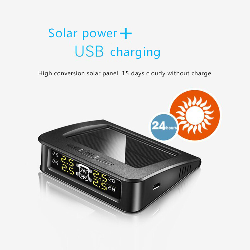 imágenes para Solar Powered Car BAR PSI de Presión de Neumáticos TPMS con 4 Sensores Sistema de Monitor de Temperatura Pantalla Digital En Tiempo Real de Alarma