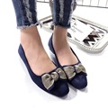 2017 New Bowties Blue Pink Suede Bow Flat Shoes Square Toe Ballerina Flats Womens Slip on Shoes